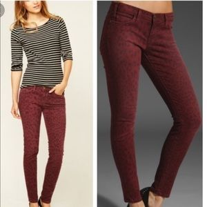 Current Elliot Stiletto Red Leopard Skinny Jeans